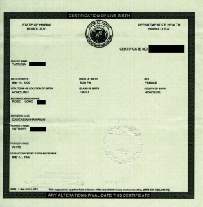 Ordinary Hawaiian Birth Certificate