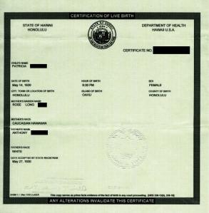 Ordinary Hawaiian Birth Certificate